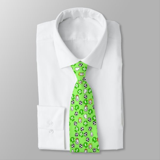 Football Theme with Green Shirts Tie