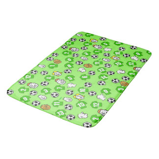 Football Theme with Shirts in Green Bath Mat