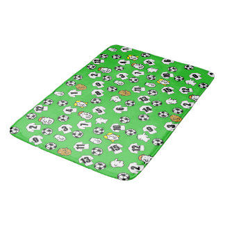 Football Theme with Shirts in White Bath Mat