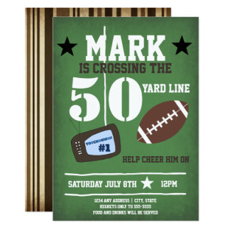 Football Themed 50th Birthday Card