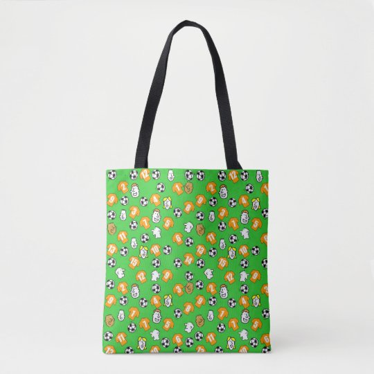 Football themed bag with shirts in orange gold