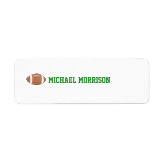 Football themed ID label Return Address Label
