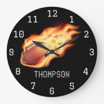 Football themed personalised add name large clock