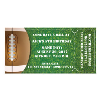 Football Themed Ticket Invitation for Birthday Customized Photo Card