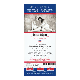 Football Ticket Blue and Red Bridal Shower 10 Cm X 24 Cm Invitation Card