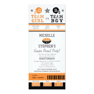Football Ticket Gender Reveal Baby Shower 10 Cm X 24 Cm Invitation Card