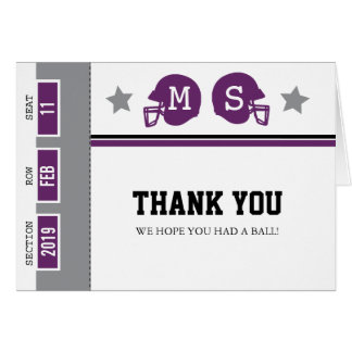 Football Ticket | Thank You Note Card