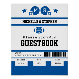 Football Ticket Wedding Guestbook Sign