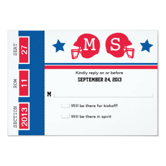 Football Ticket Wedding RSVP 9 Cm X 13 Cm Invitation Card