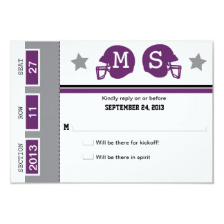 Football Ticket Wedding RSVP Card