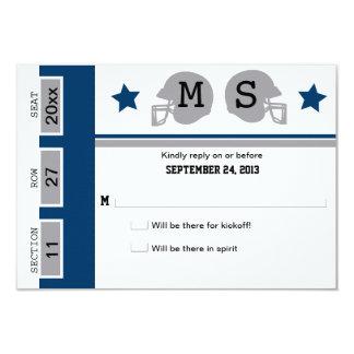 "Football Ticket Wedding RSVP 3.5"" X 5"" Invitation Card"