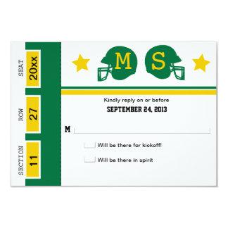 Football Ticket Wedding RSVP 9 Cm X 13 Cm Invitation Card