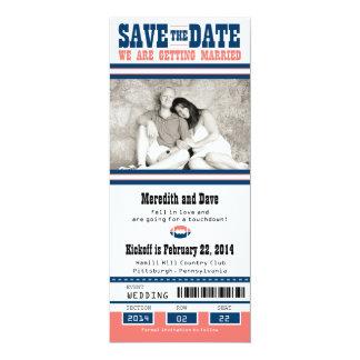 Football Ticket Wedding Save the Date 10 Cm X 24 Cm Invitation Card