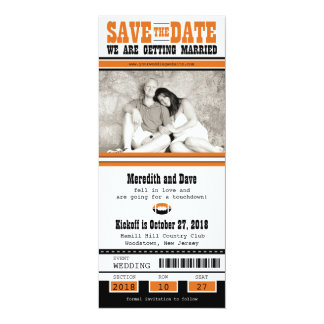 Football Ticket Wedding Save the Date 10 Cm X 24 Cm Invitation Card