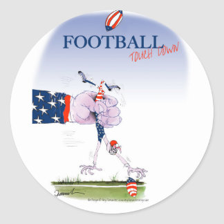 Football touch down, tony fernandes round sticker
