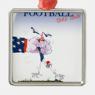 Football touch down, tony fernandes Silver-Colored square decoration