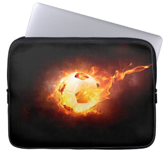 Football under Fire, Ball, Soccer Laptop Sleeve