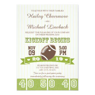 FOOTBALL WEDDING 13 CM X 18 CM INVITATION CARD