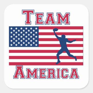 Football Wide Receiver American Flag Team America Square Sticker