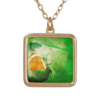 Football with grunge elements square pendant necklace