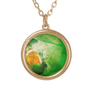 Football with grunge elements round pendant necklace
