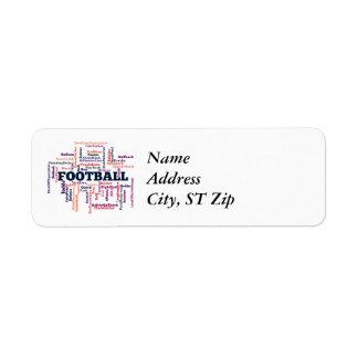 Football Word Cloud Return Address Label