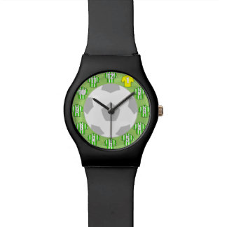 Football Wristwatch Green & White Striped Shirts