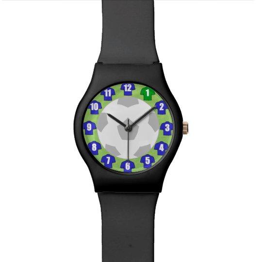 Football Wristwatch with Blue Shirts