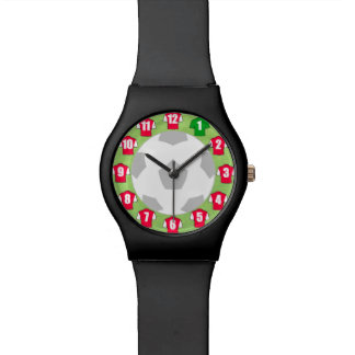 Football Wristwatch with Red and White Shirts
