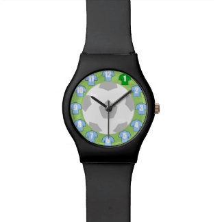 Football Wristwatch with Sky Blue Shirts