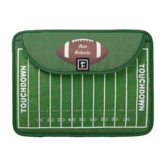 Football & Yardage Markings on a Green Grass Field MacBook Pro Sleeves