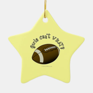 Football - Yellow Text Christmas Ornaments