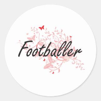 Footballer Artistic Job Design with Butterflies Round Sticker