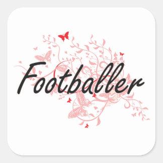 Footballer Artistic Job Design with Butterflies Square Sticker