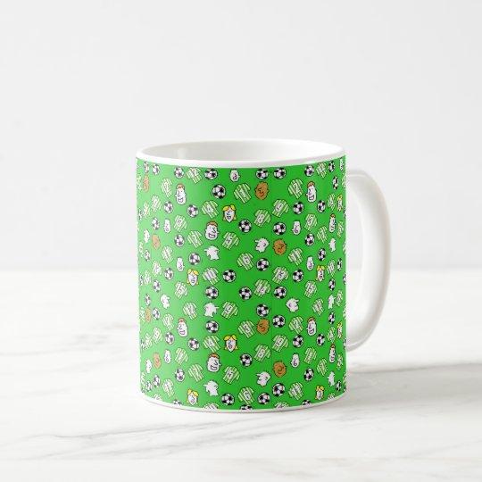 Footballs, Green & White Shirts, & Fans Coffee