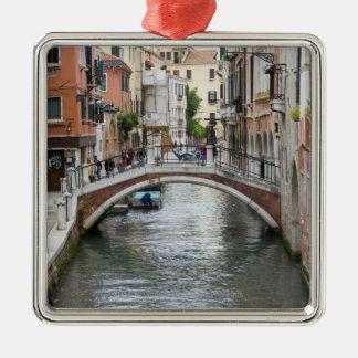 Footbridge in Venice Silver-Colored Square Decoration