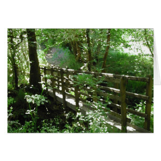 Footbridge in Woodland. Card