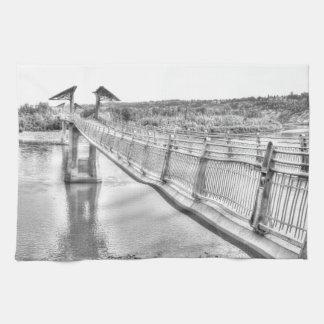 Footbridge over the North Saskatchewan River Tea Towel
