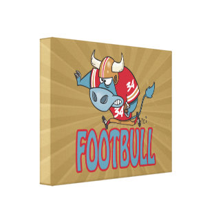 Footbull funny football bull cartoon stretched canvas prints