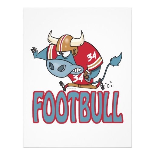 Footbull funny football bull cartoon personalized flyer