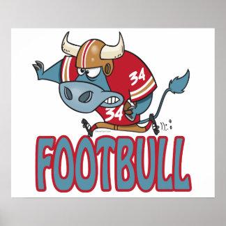Footbull funny football bull cartoon poster