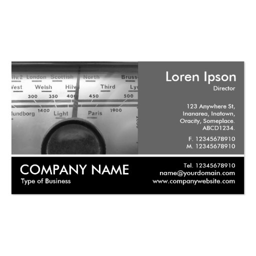 Footed Photo - 60pc Gray - Old UK Radio Dial Business Card Template