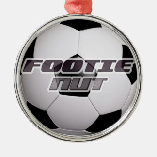 Footie Football Nut Silver-Colored Round Decoration