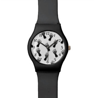 Footprint black and white pattern watch