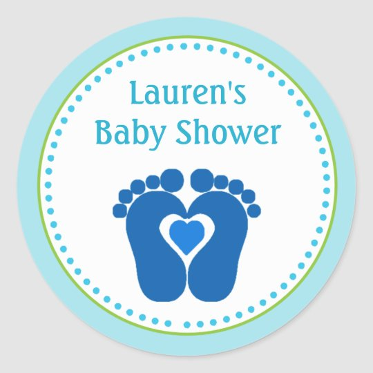 Footprint Boy Baby Shower Favour Tag Stickers