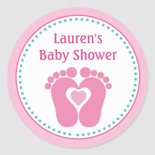 Footprint Girl Baby Shower Favour Tag Stickers