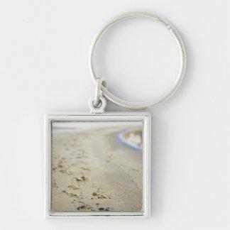 Footprint in coast. keychains