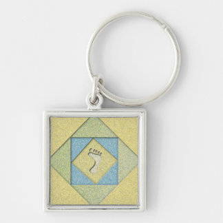 Footprint in the Sand Silver-Colored Square Key Ring