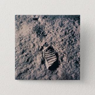 Footprint on Lunar Surface 15 Cm Square Badge