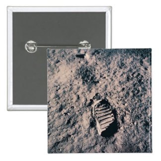 Footprint on Lunar Surface 15 Cm Square Badge